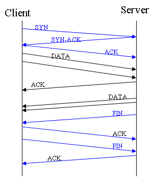 Typical TCP packet exchange